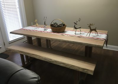 Live Edge Cherry Dining Table, Grandfather Clock by Bob Mullenau